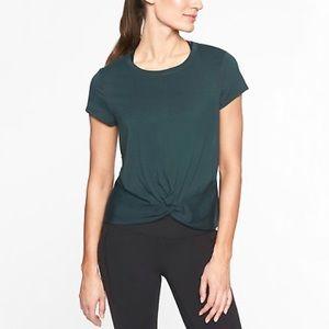 Athleta Essence Twist Short Sleeve Top Green